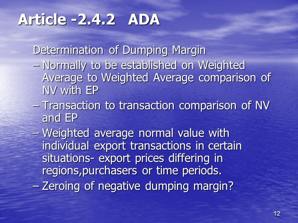 Article ADA Determination of Dumping Margin