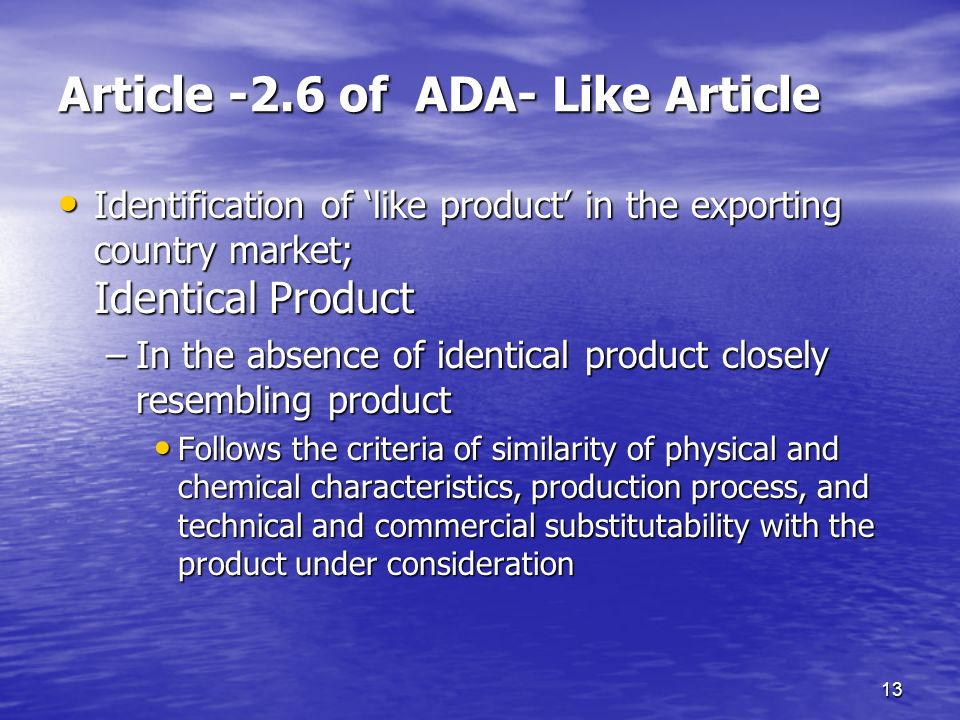 Article -2.6 of ADA- Like Article