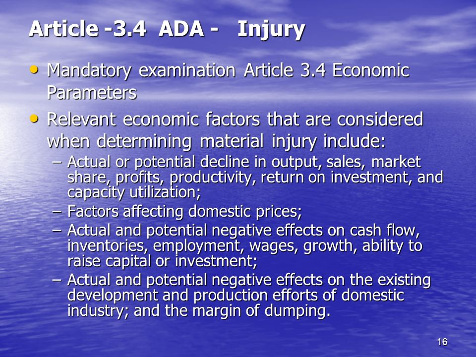 Article -3.4 ADA - Injury Mandatory examination Article 3.4 Economic Parameters.