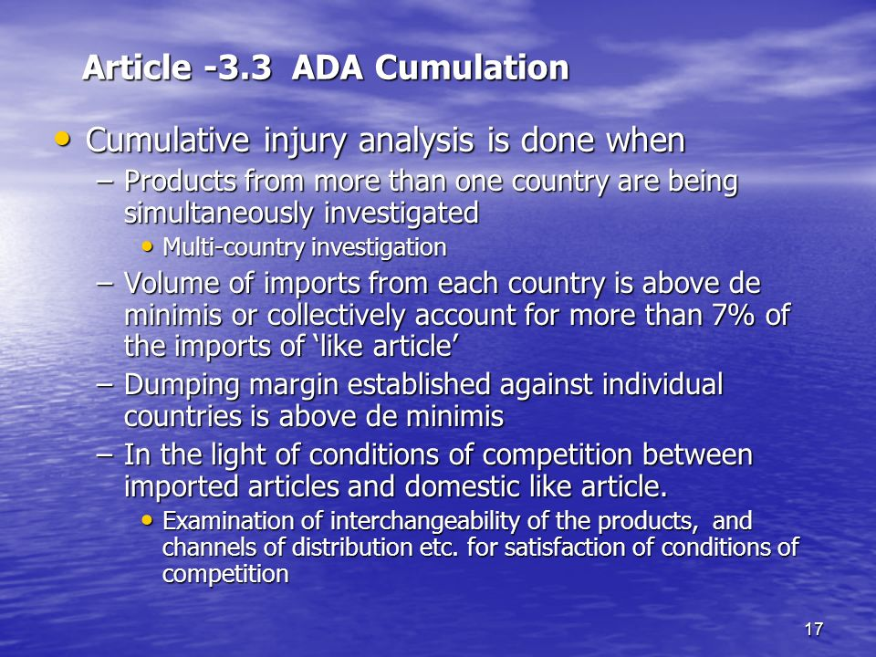 Article -3.3 ADA Cumulation
