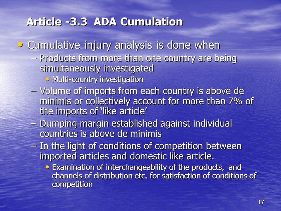 Article -3.3 ADA Cumulation
