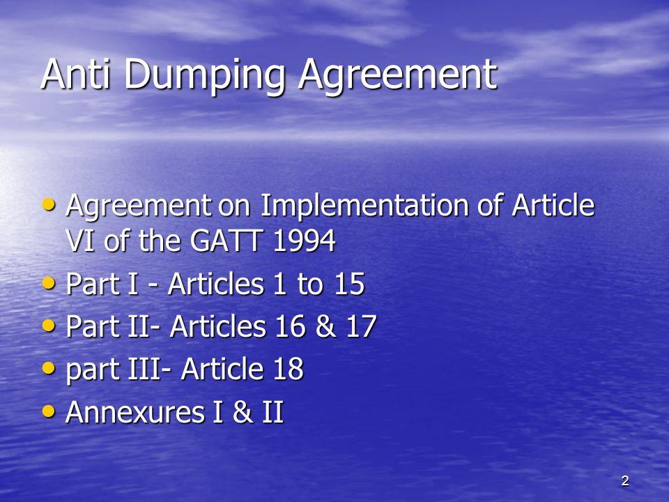 Anti Dumping Agreement