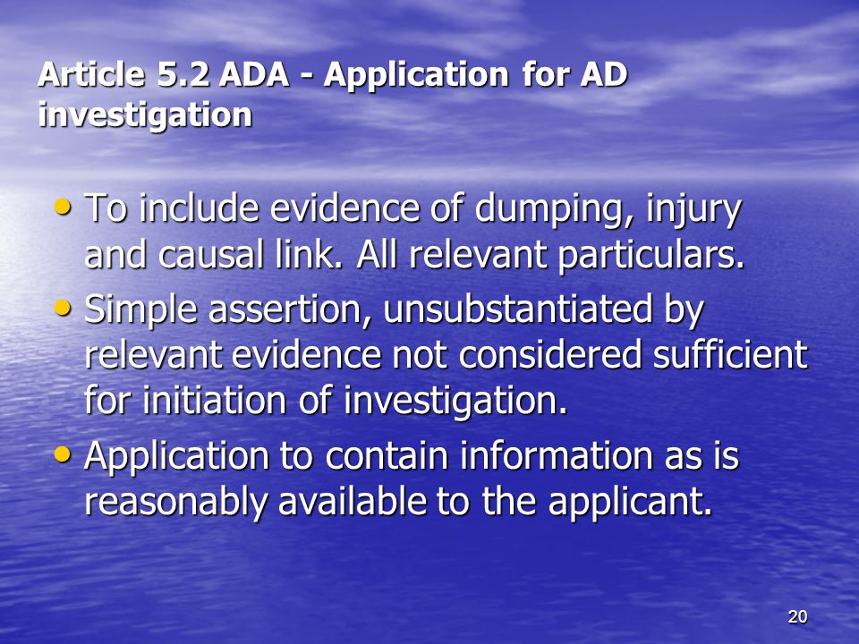 Article 5.2 ADA - Application for AD investigation