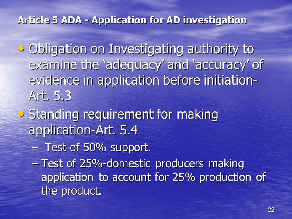 Article 5 ADA - Application for AD investigation