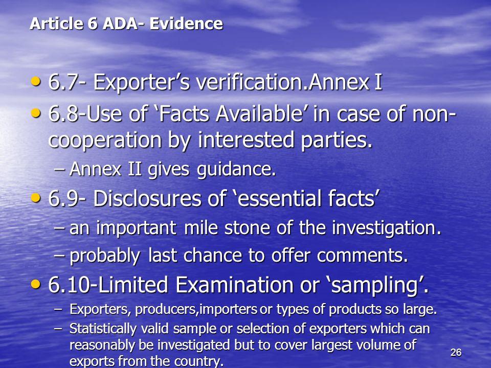 6.7- Exporter's verification.Annex I