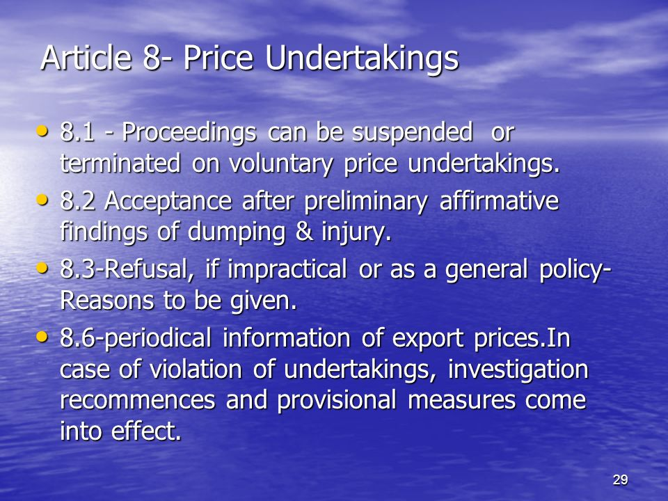 Article 8- Price Undertakings