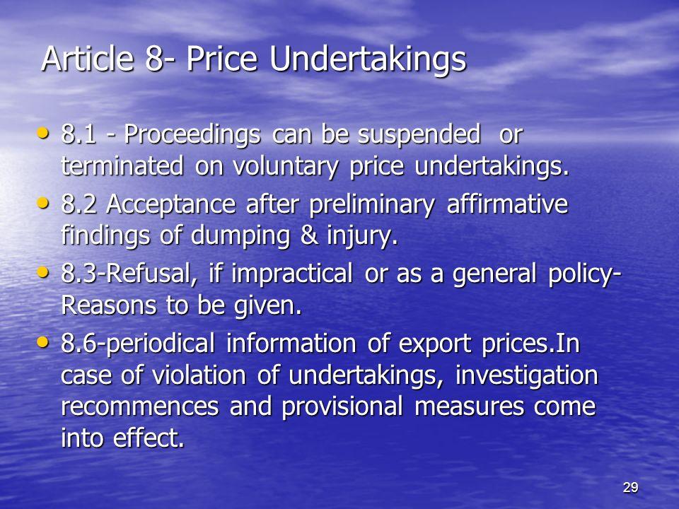 Article 8- Price Undertakings