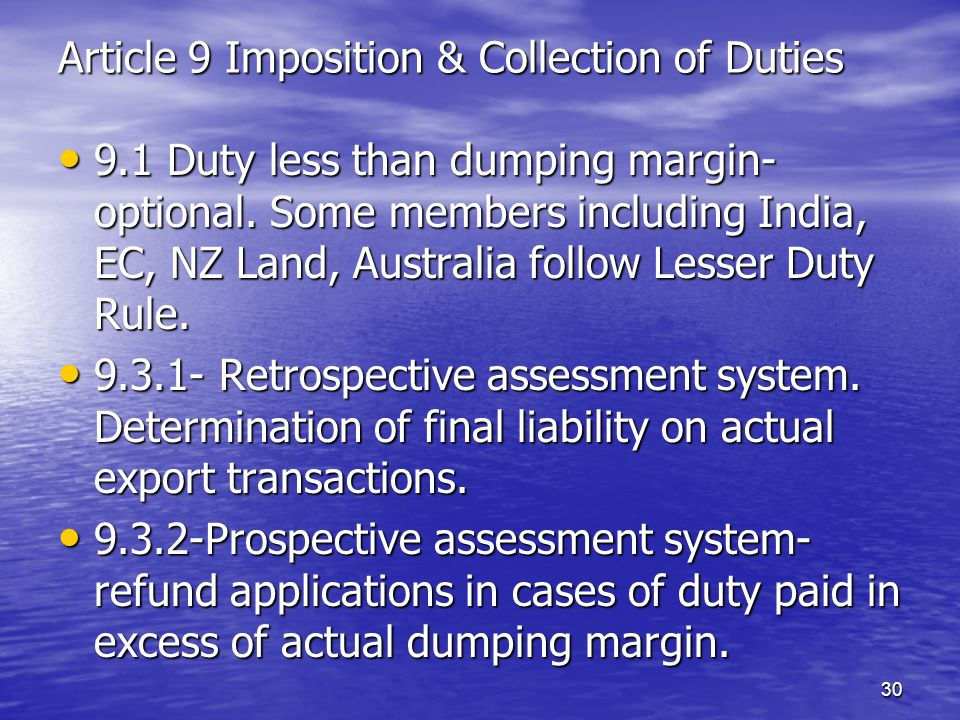Article 9 Imposition & Collection of Duties
