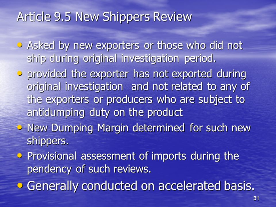 Article 9.5 New Shippers Review