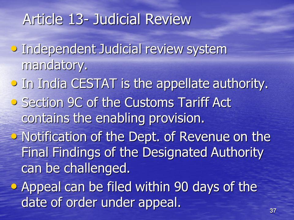 Article 13- Judicial Review