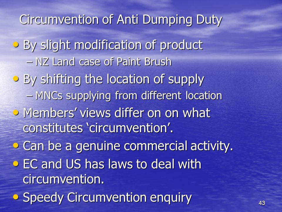 Circumvention of Anti Dumping Duty