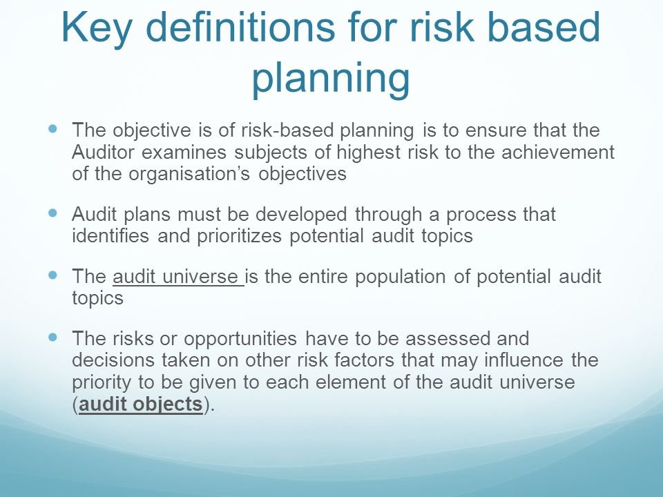 From Risk To Planning Making The Bridge From Risks To Audit Plans