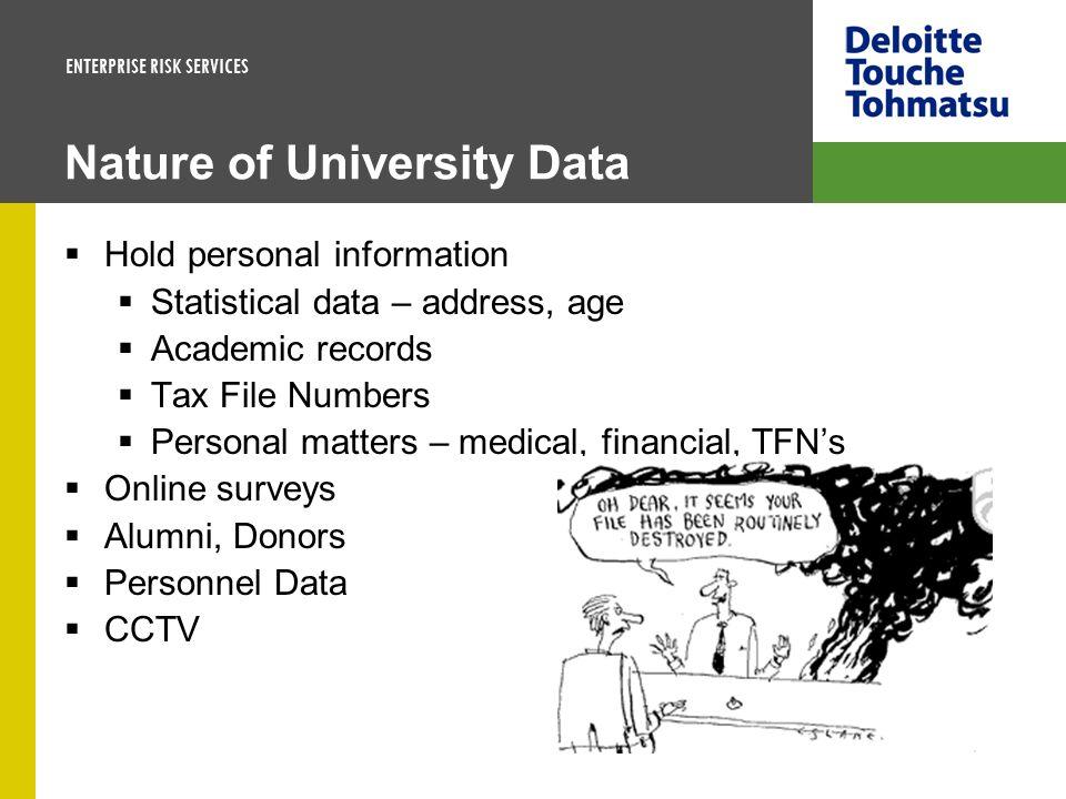 Nature of University Data