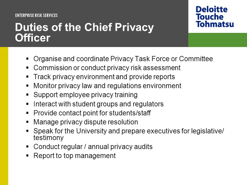 Duties of the Chief Privacy Officer