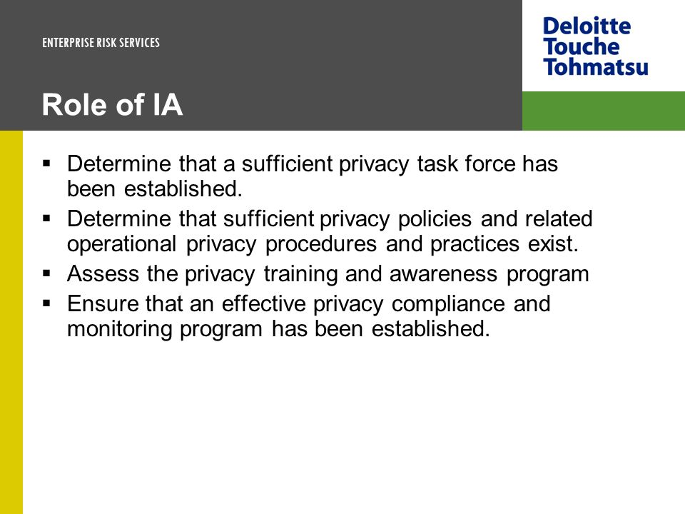 Role of IA Determine that a sufficient privacy task force has been established.