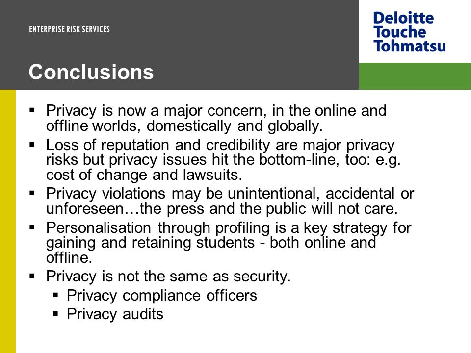 Conclusions Privacy is now a major concern, in the online and offline worlds, domestically and globally.