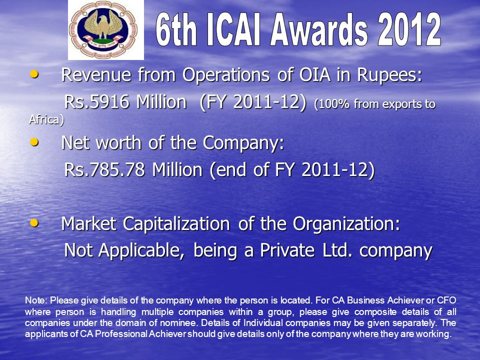 Revenue from Operations of OIA in Rupees: