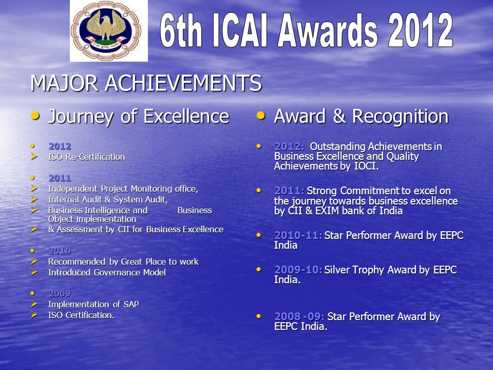 MAJOR ACHIEVEMENTS Journey of Excellence Award & Recognition