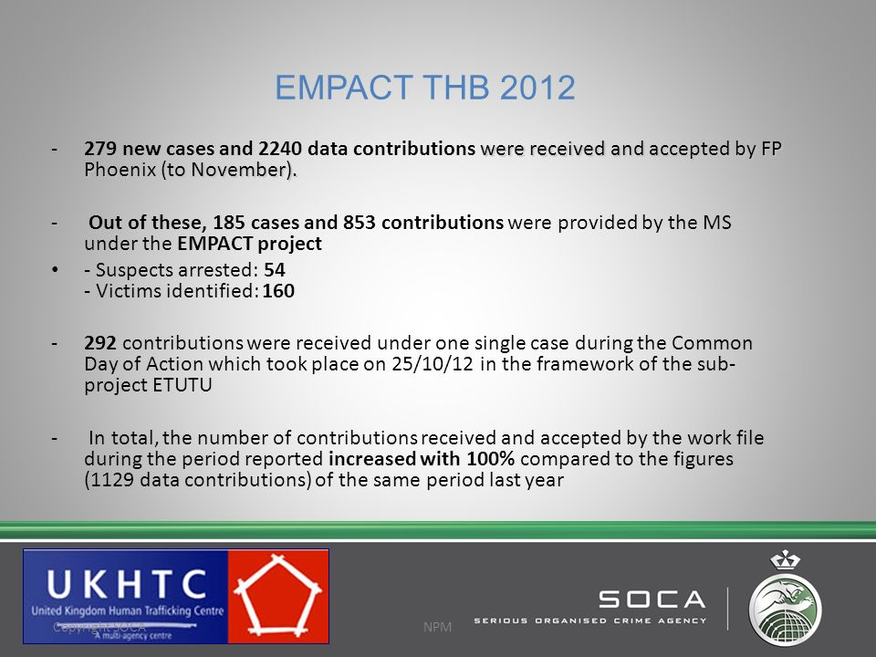 EMPACT THB 2012 279 new cases and 2240 data contributions were received and accepted by FP Phoenix (to November).