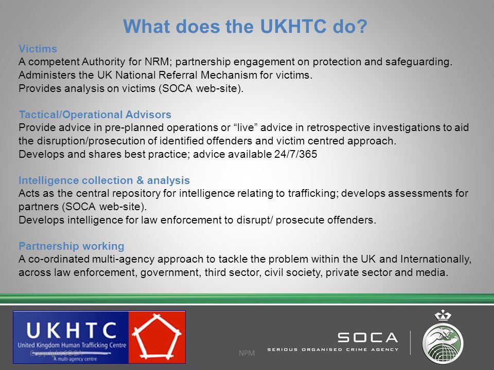 What does the UKHTC do Victims