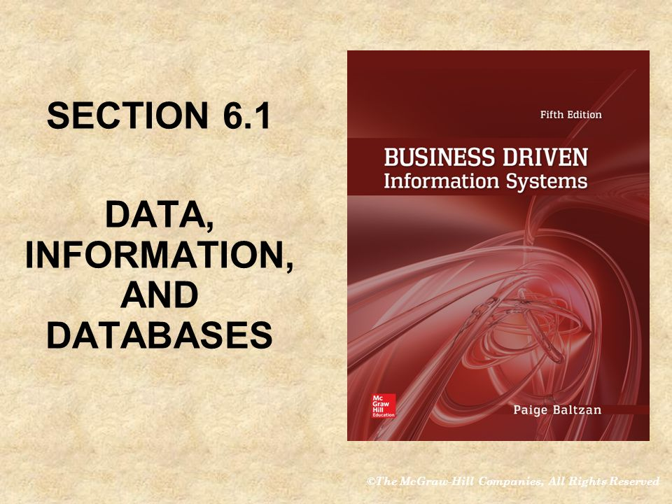 SECTION 6.1 DATA, INFORMATION, AND DATABASES