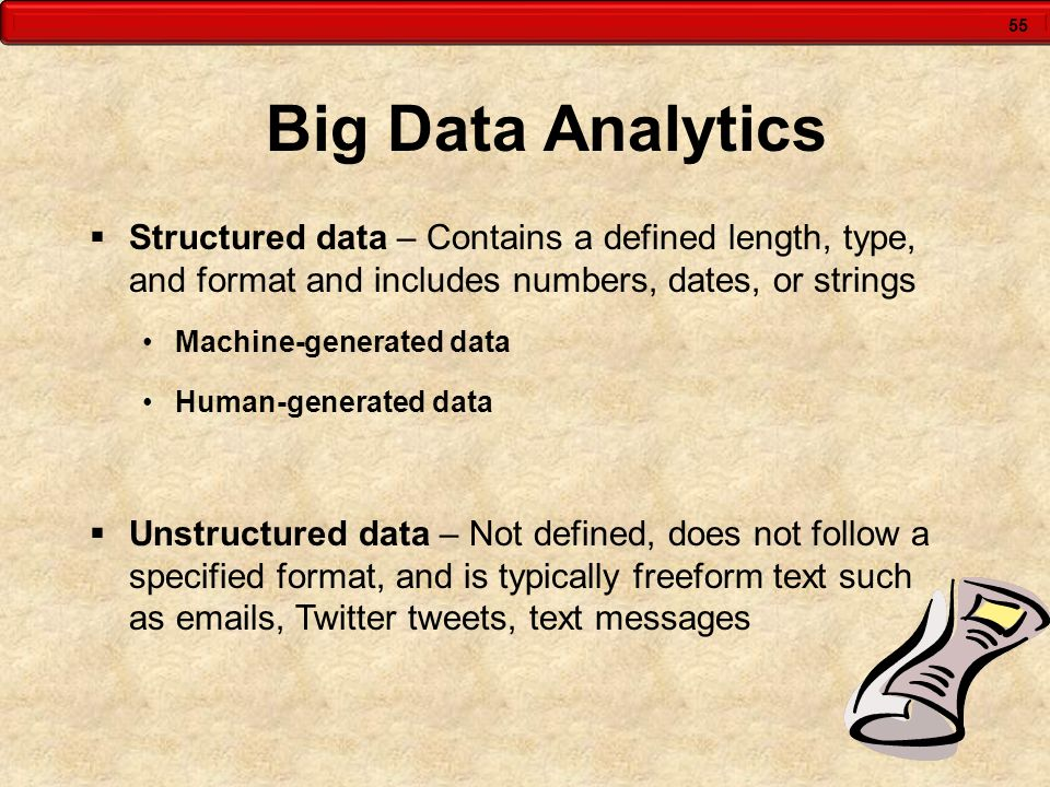 Big Data Analytics Structured data – Contains a defined length, type, and format and includes numbers, dates, or strings.