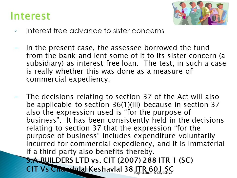 Interest Interest free advance to sister concerns