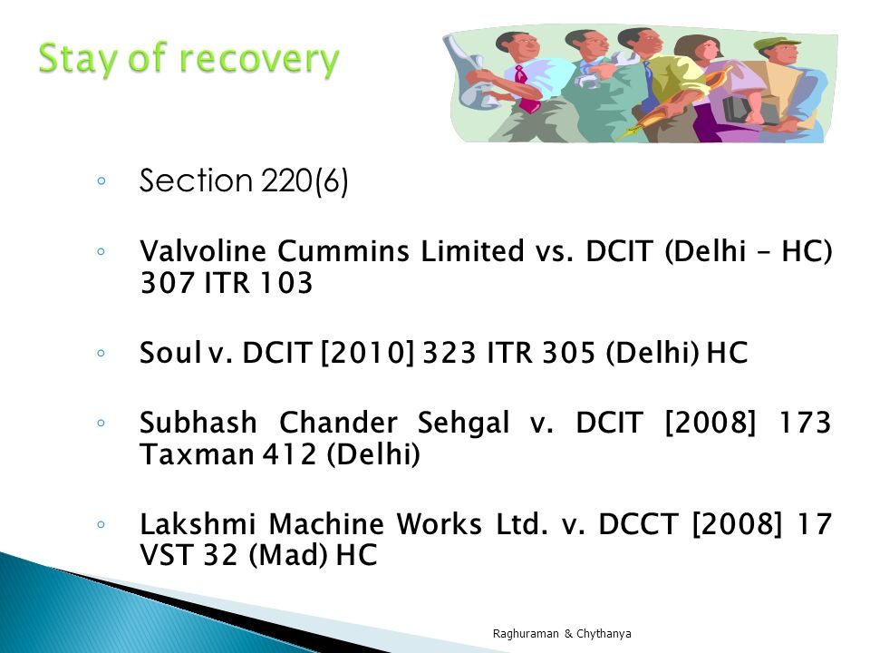 Stay of recovery Section 220(6)
