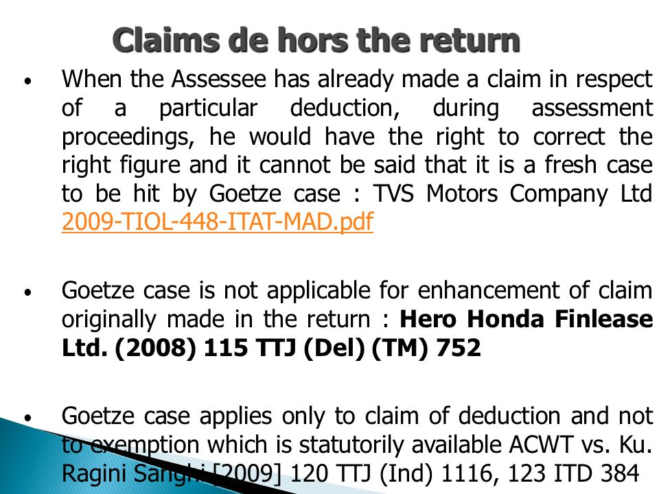 Claims de hors the return