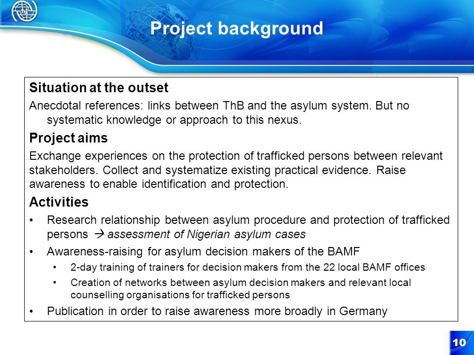 Project background Situation at the outset Project aims Activities