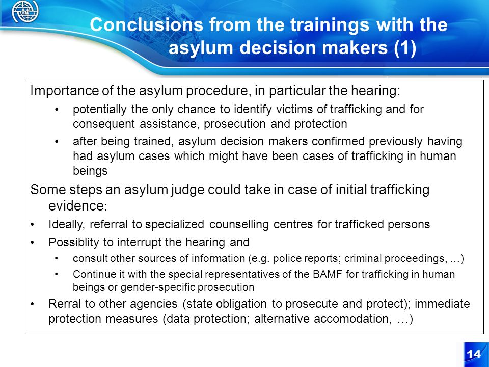 Conclusions from the trainings with the asylum decision makers (1)