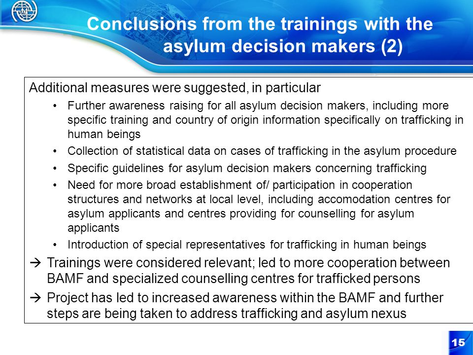Conclusions from the trainings with the asylum decision makers (2)