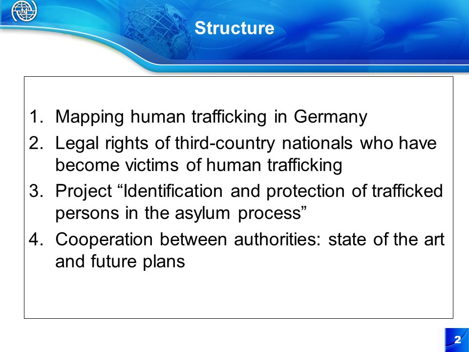 Structure Mapping human trafficking in Germany. Legal rights of third-country nationals who have become victims of human trafficking.