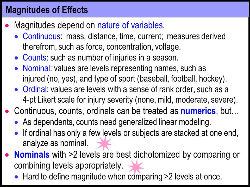 Magnitudes depend on nature of variables.