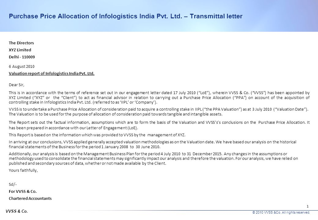 Purchase Price Allocation of Infologistics India Pvt. Ltd