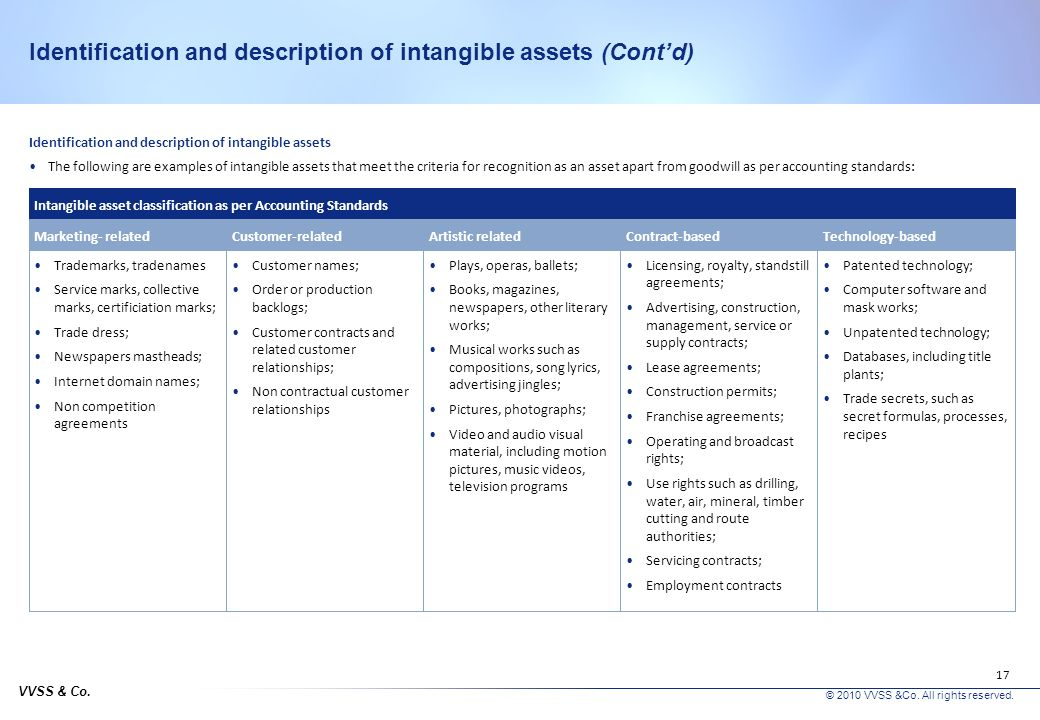 Identification and description of intangible assets (Cont'd)