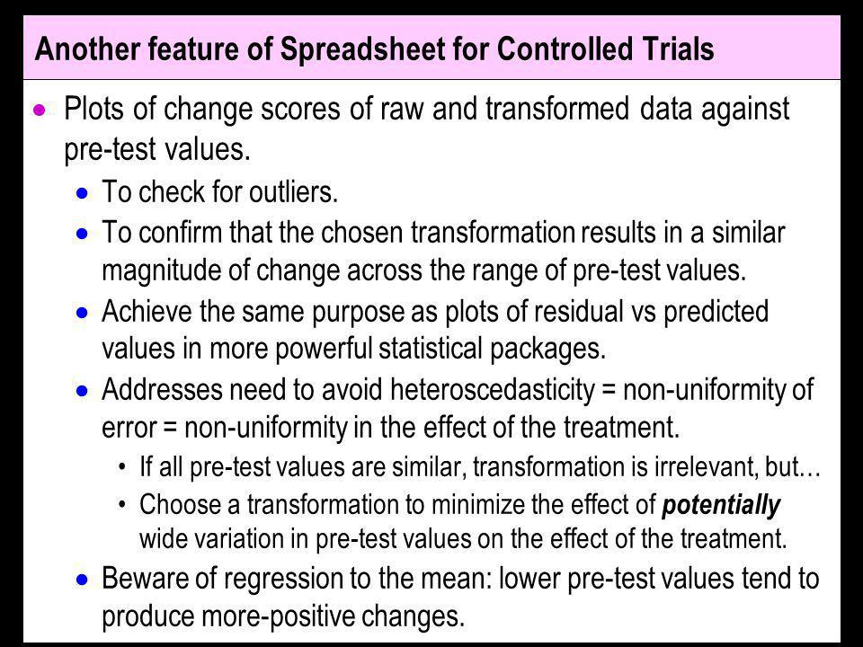 Another feature of Spreadsheet for Controlled Trials