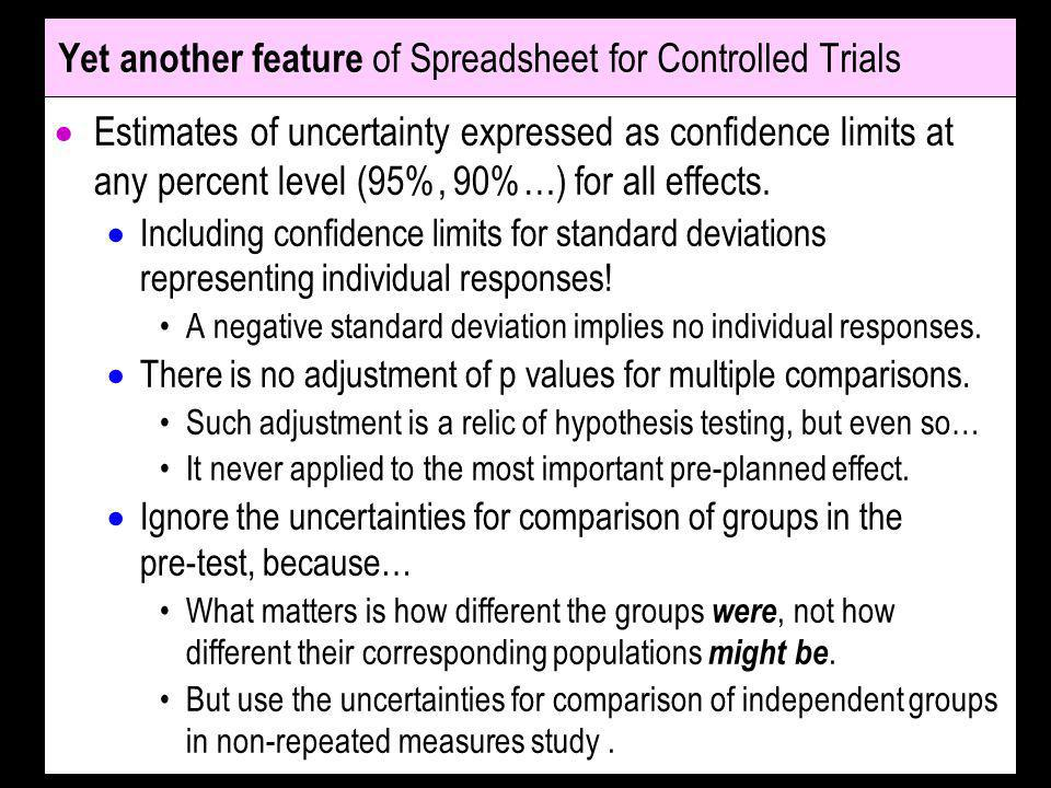 Yet another feature of Spreadsheet for Controlled Trials
