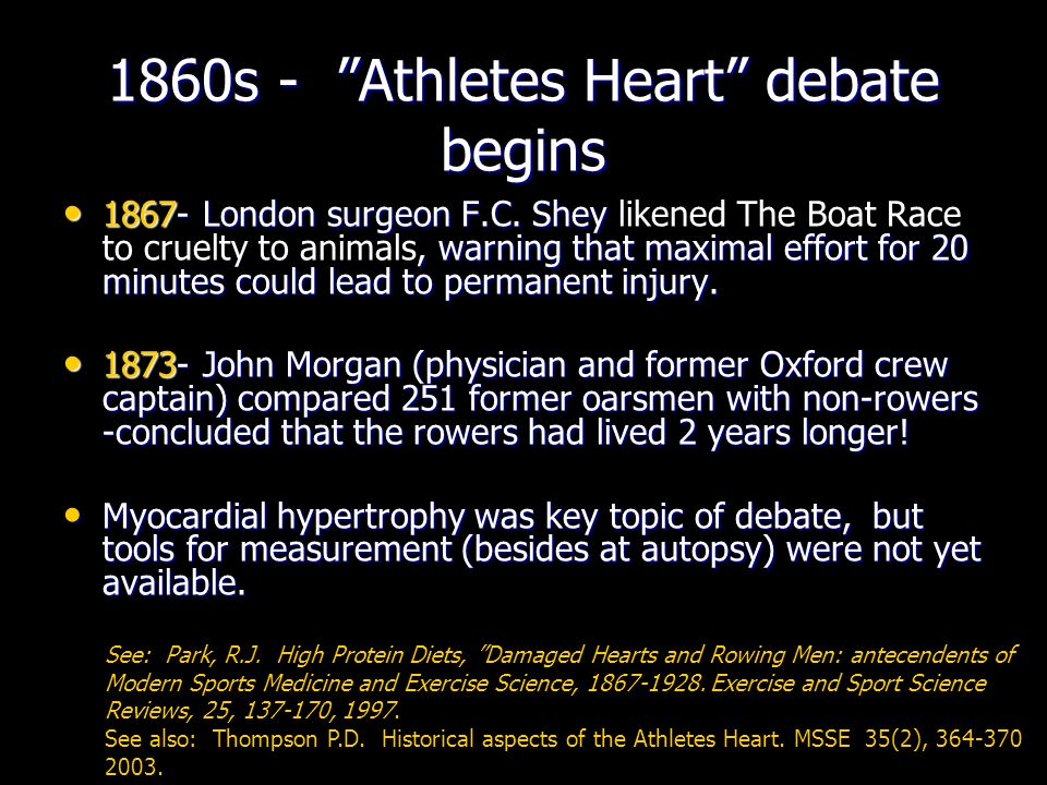 1860s - Athletes Heart debate begins