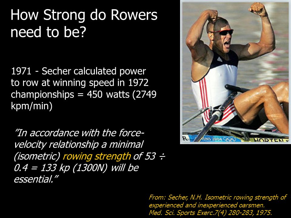 How Strong do Rowers need to be 1971 - Secher calculated power