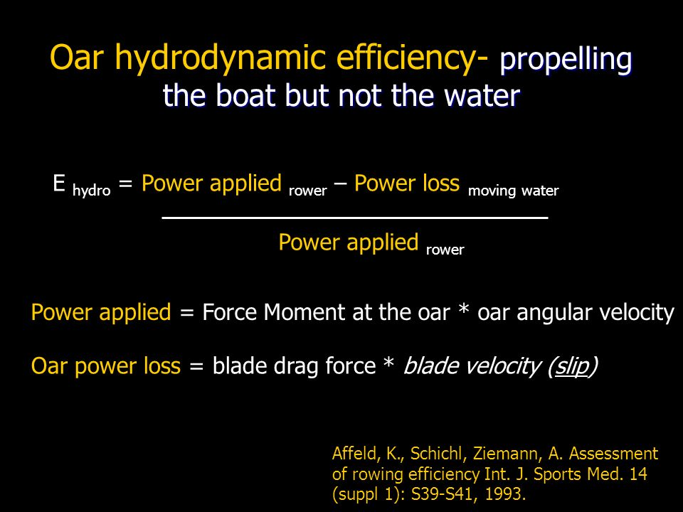 Oar hydrodynamic efficiency- propelling the boat but not the water