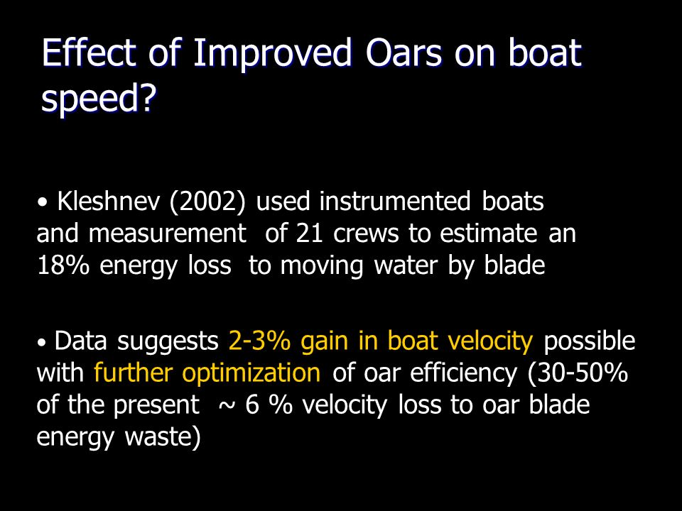 Effect of Improved Oars on boat speed