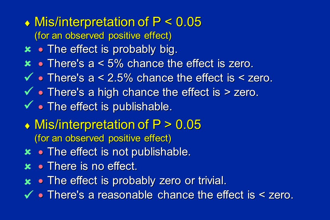 Mis/interpretation of P < 0.05 (for an observed positive effect)