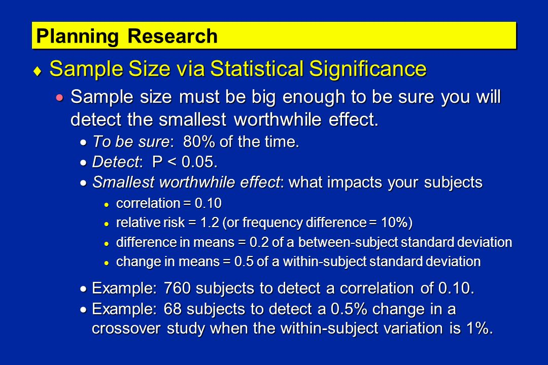 Sample Size via Statistical Significance