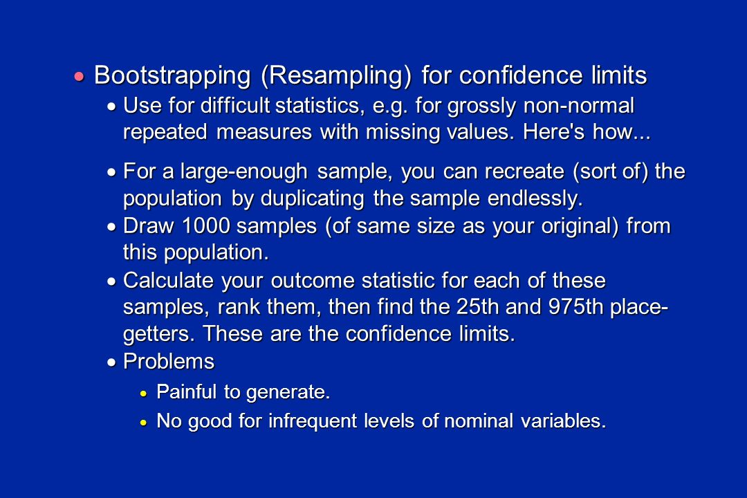 Bootstrapping (Resampling) for confidence limits