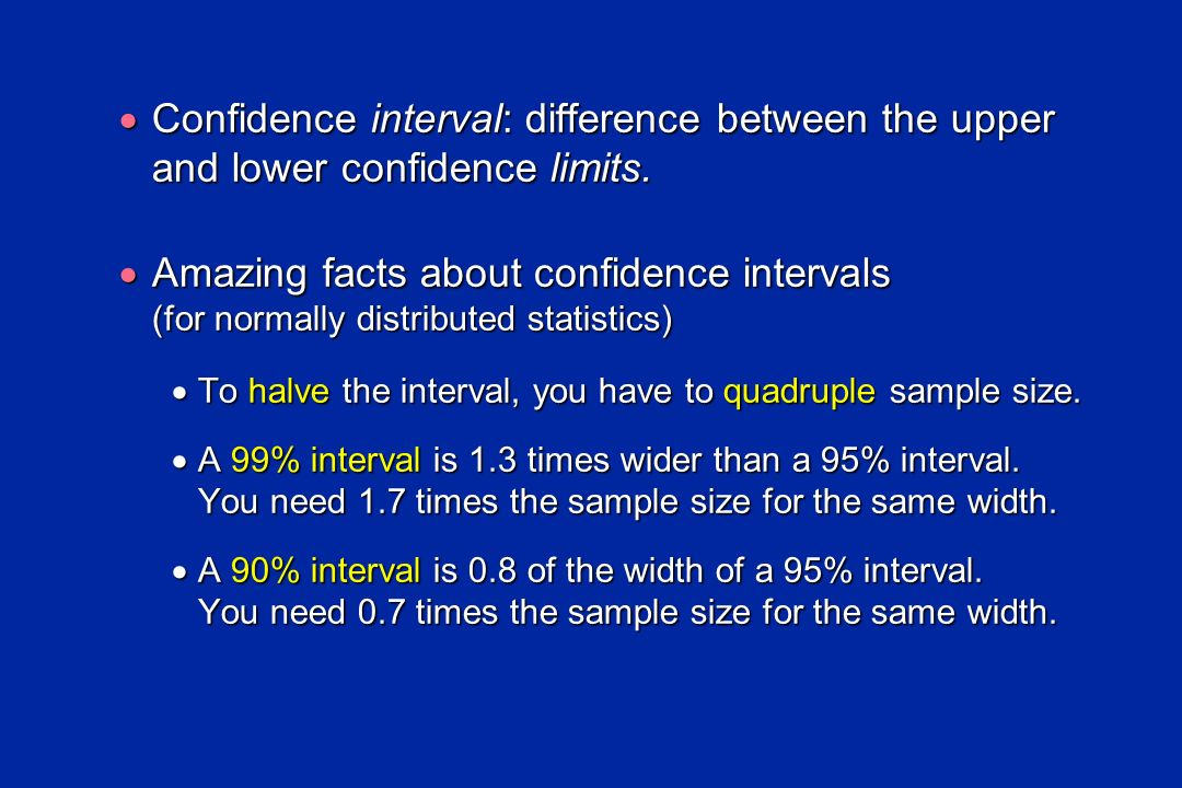Confidence interval: difference between the upper and lower confidence limits.