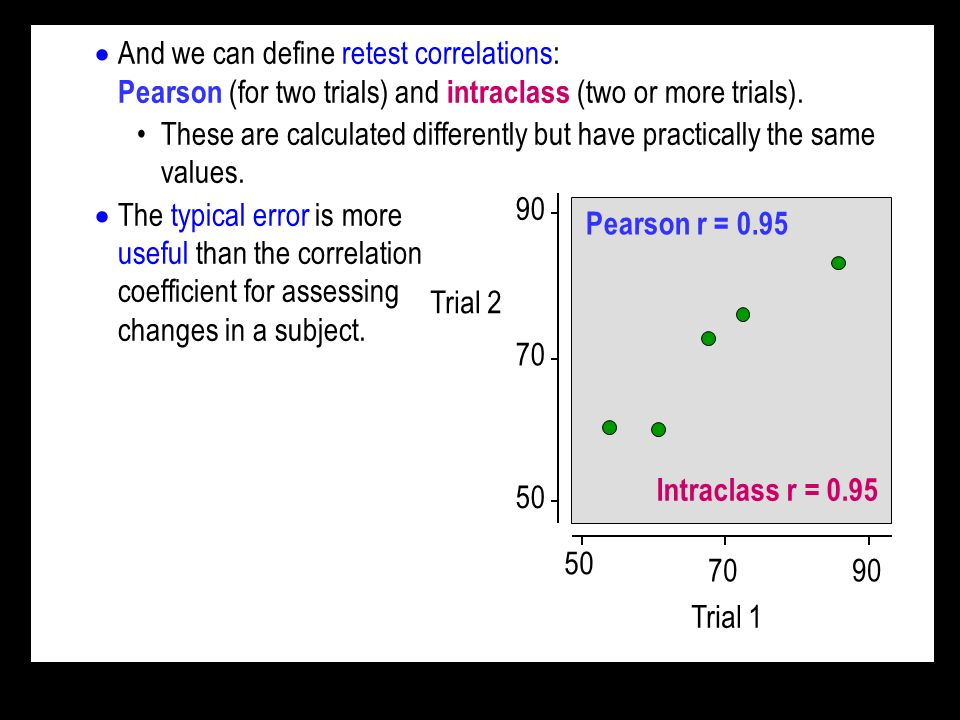 And we can define retest correlations: Pearson (for two trials) and intraclass (two or more trials).