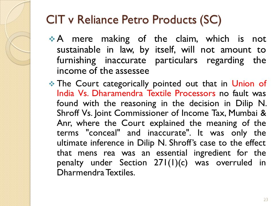 CIT v Reliance Petro Products (SC)