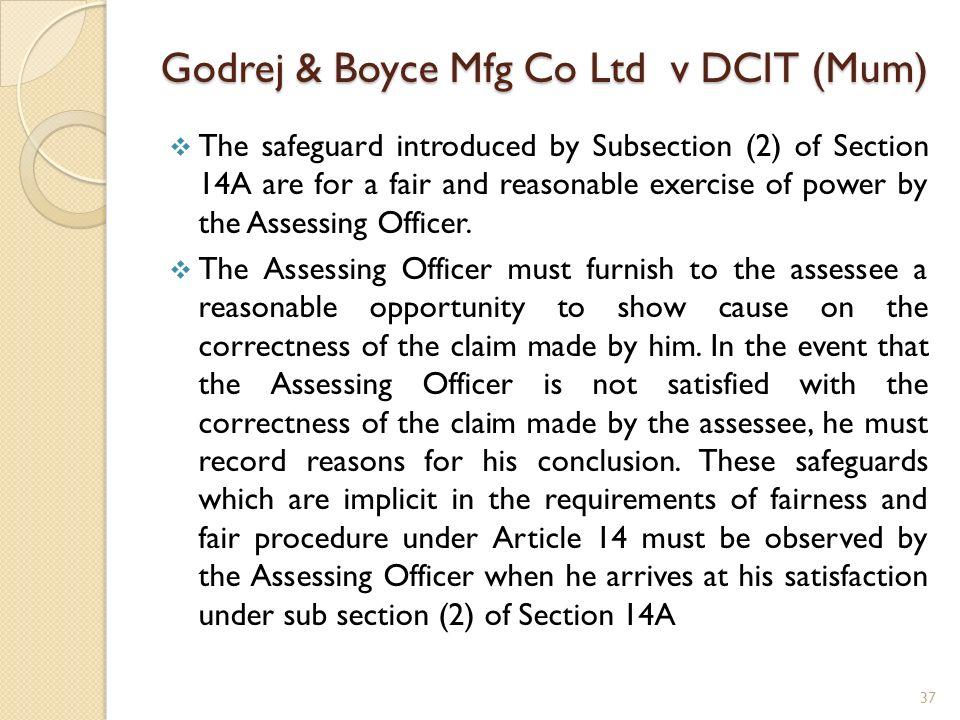 Godrej & Boyce Mfg Co Ltd v DCIT (Mum)