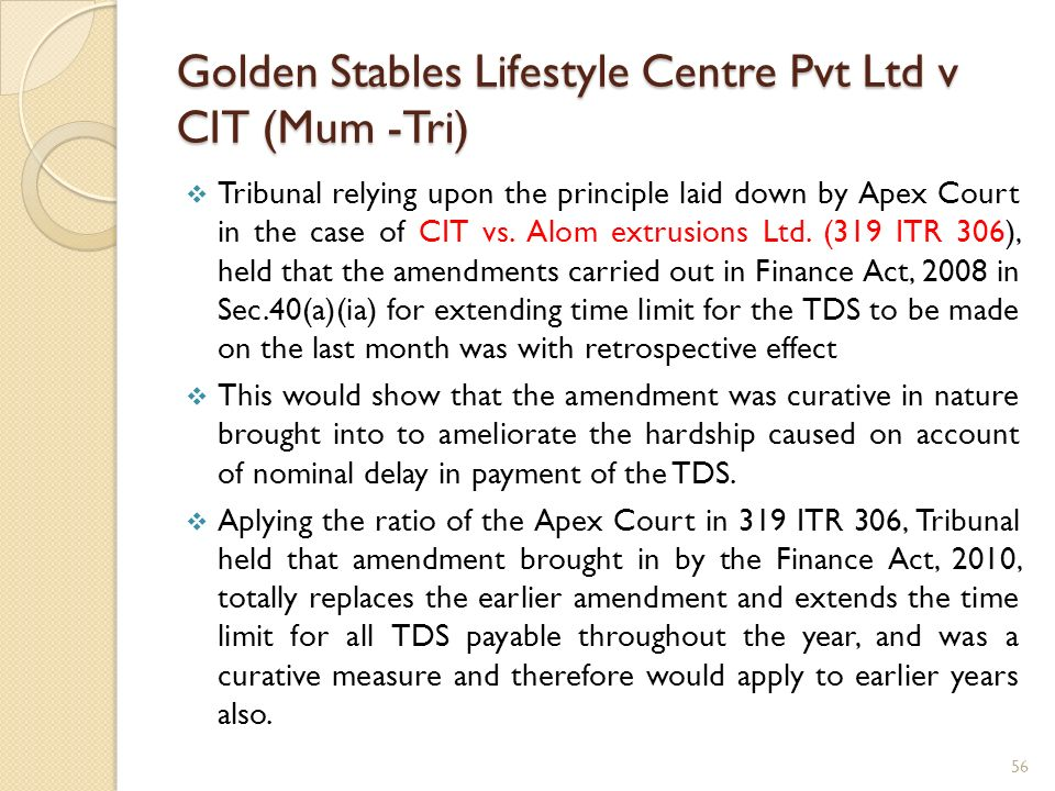 Golden Stables Lifestyle Centre Pvt Ltd v CIT (Mum -Tri)